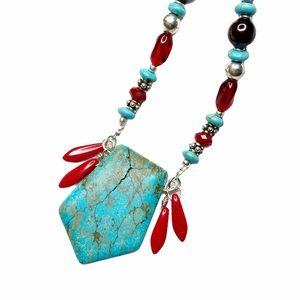 NWT ShanRiLa Turquoise & Red Long Beaded Necklace